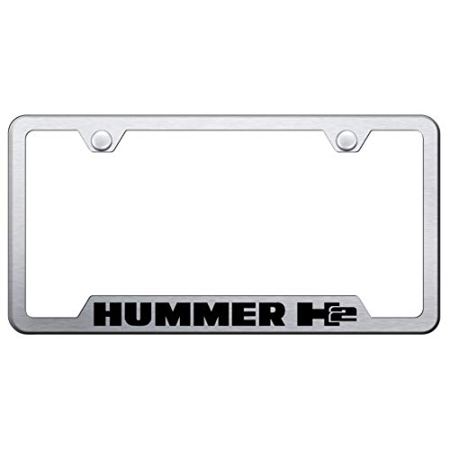 Hummer H2 Stainless Steel License Plate Frame Logo Tag Satin Flat Matte