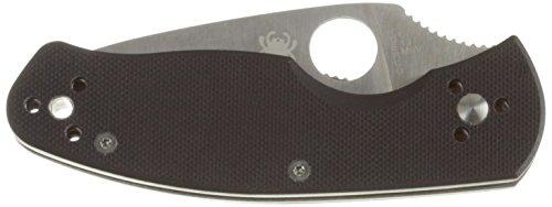 Spyderco Tenacious Folding Knife, G-10 Black Handle, Plain Edge, Black Blade (Black Plain Edge Knife)
