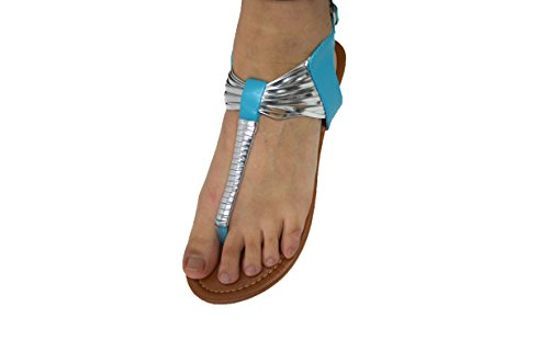 Womens Fashion Studded Gladiator Strappy Thong Sandals T Strap Roman Gladiator Sandals 6387 Teal/Silver EBCYoIRnc