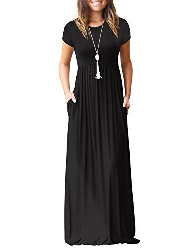 shermie Women's Casual Long Sleeve Plain Long Dresses Ladies Crew Neck Maxi Dress with Pockets (Large(UK14), Black-A)