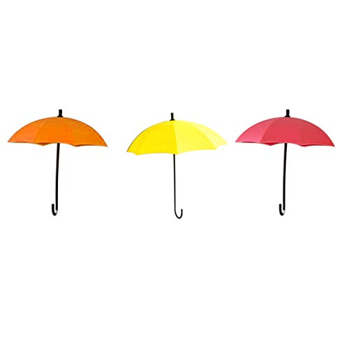 tbpersicwT 3Pcs Umbrella Wall Hooks Decor Hanger Key Rack Holder Bathroom Kitchen Organizer Sun Parasol Daily Folding Umbrella - Orange Yellow Red (Sun Uk Umbrella Patio)