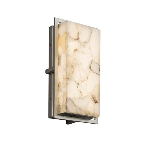Alabaster Rocks! - Avalon Small LED Outdoor Wall Sconce with Alabaster Rocks Shade - Brushed Nickel Finish Alabaster Rocks 12 Light