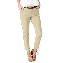 Women's Slimming Straight Leg Pants Casual Cropped Ankle  Trousers