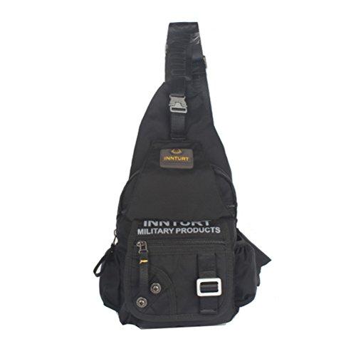 Innturt Nylon Sling Bag Backpack Shoulder Messenger (Large - Black)