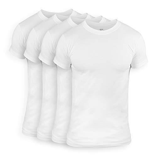 Snocks Herren Unterhemd mit Rundhalsausschnitt (4er Pack) Perfekt für unter Hemd/Pullover