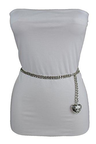 TFJ Women Fashion Skinny Belt Narrow Hip High Waist Silver Metal Chain Love Heart Buckle M L XL by Trendy Fashion Jewelry (Image #3)