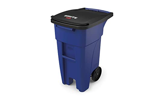 Rubbermaid Commercial Products 1971943 BRUTE Rollout Heavy-Duty Wheeled Trash/Garbage Can, 32-Gallon, Blue (Rubbermaid 32 Brute)