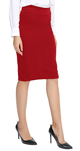 Urban CoCo Women's Elastic Waist Stretch Bodycon Midi - Woman Skirts Casual