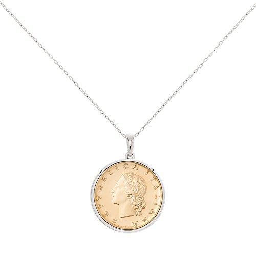 MiaBella Genuine Italian 20 Lira Coin Pendant Necklace in Sterling Silver. 18