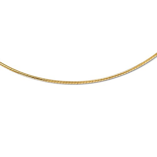 (Leslie's Real 14kt Yellow Gold 2mm Round Omega Necklace; 16 inch)