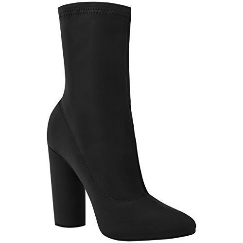 Fashion Thirsty Womens Ladies Block High Heels Stretchy Lycra Ankle Boots Wide Fit Celeb Size Black Lycra RyvSSM
