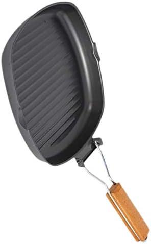 CLISPEED Antiadhésif Grill Pan Pliable Pliable Steak Poêle à Frire Portable en Bois Poignée Ustensiles de Cuisine pour La Cuisine à Domicile 20 Cm