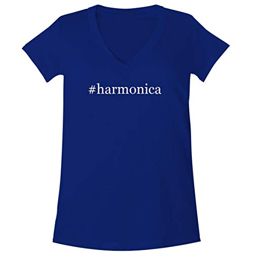 - The Town Butler #Harmonica - A Soft & Comfortable Women's V-Neck T-Shirt, Blue, Large