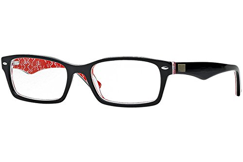 Ray-Ban Mens Rx5206 Rectangular EyeglassesTop Black & Texture Red54 mm