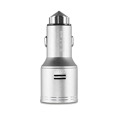 Stainless Steel Car Carbon Monoxide Detector, Quick Charge 3.0 USB Type C Fast Car Charger Adapter, CO Alarm Detector with Emergency Glass Breaker(Silver) by FASOHERE (Image #2)