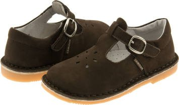 L'Amour T-Strap Brown Nubuck Suede Shoes, (Youth Dark Brown Suede Footwear)