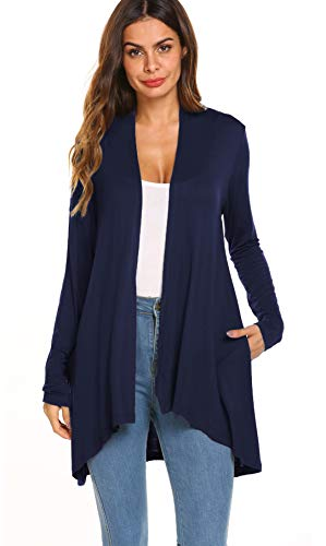 POGTMM Women's Casual Open Front Drape Lightweight Long Sleeve Cardigan Sweater (Navy Blue, US M(8-10)) ()