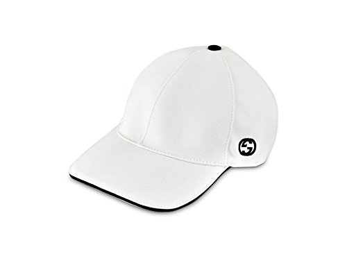 Gucci Cotton Canvas with GG Detail Baseball Cap, White 387554 (X-Large (60cm) 23.6