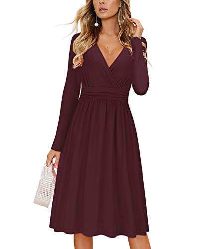 OUGES Womens Long Sleeve V-Neck Wrap Waist Party Dress with Pockets(Red,L)