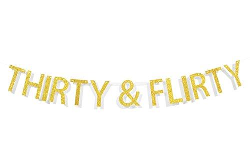 Qttier™ Thirty & Flirty Gold Glitter Letters Banner,