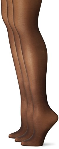 (L'eggs Women's Silken 3 Pack Control Top Reinforced Toe Panty Hose, Jet Black, A)
