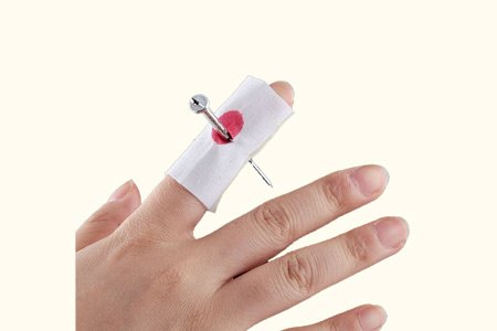 Prank Fake Nail through Finger Trick Magic Props April Fool Halloween Party Toy ()