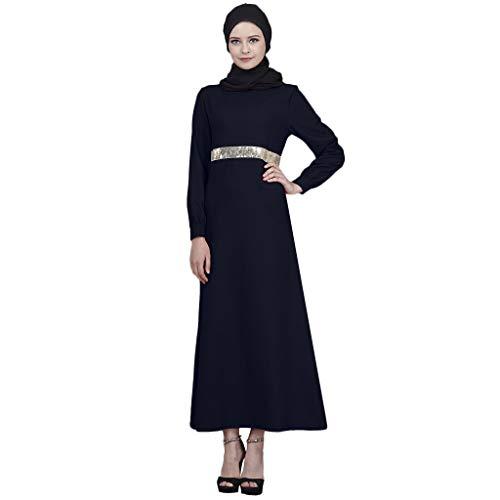 (Sunyastor Women Muslim Maxi Dress Long Sleeves Sequins Abaya Kaftan Islamic Robe Long Dress Dubai Style Girls Arabic Cafta)