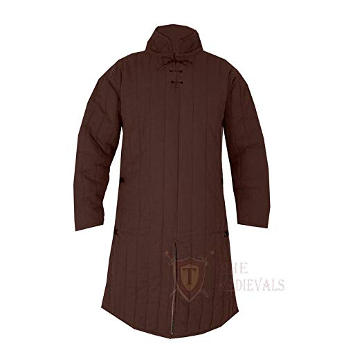 Medieval Thick Padded Full Sleeves Gambeson Coat Aketon Jacket Armor, Brown Cotton Fabric - X-Large