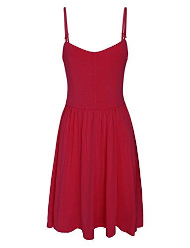 Tom's Ware Women Stylish Removable Shoulder Strap Skater Dress TWCWD088-RED-US M ()