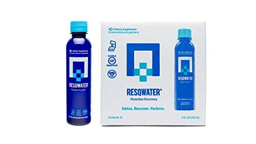 RESQWATER Proactive Hangover Prevention & Workout Recovery Drink, 8 Ounces (12 Pack)