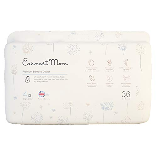 Earnest Mom Premium Bamboo Diapers - Eco-Friendly Disposable Diapers - Keeps Baby's Sensitive Skin Dry and Protected, Size 4 (26 lbs +), 36 Count (X-Large)