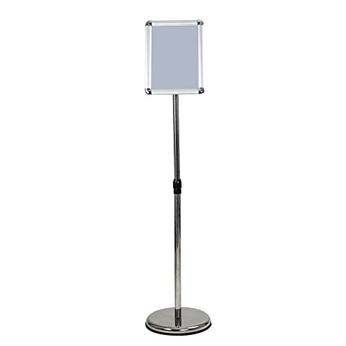ShowMaven A4 Height Adjustable Pedestal Poster Stand Sign Holder Vertical/Horizontal View Sign Holder &Steel Round Base, Free Floor Standing Display for Exhibition Library Restaurant (Poster Pedestal Frame)
