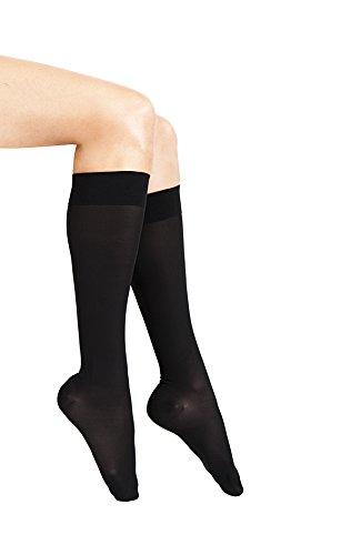 ITA-MED Sheer Knee Highs, Compression(20-22 mmHg), Black, Medium, 2 Count