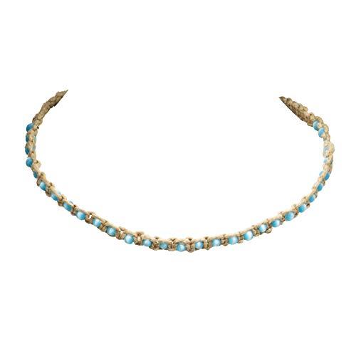 Choker Necklace Eye Cat (BlueRica Hemp Choker Necklace with Cat's Eye Beads (Light Blue))