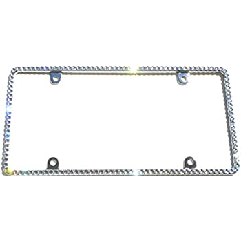 Amazon.com: Cool Blingz Thin CRYSTAL License Plate Frame Rhinestone ...