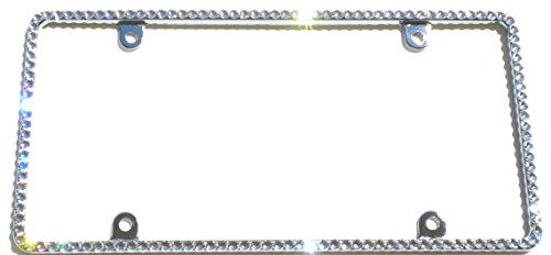 Cool Blingz Thin CRYSTAL License Plate Frame Rhinestone Bling made with Swarovski Crystals -  SW1Crys30C