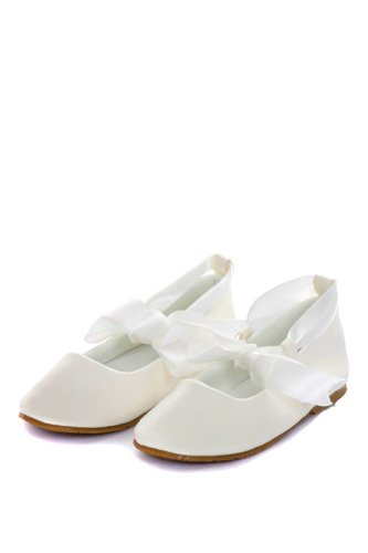 Girl's Ballet Flat Shoes with Ribbon Tie (Toddler 6, Ivory)