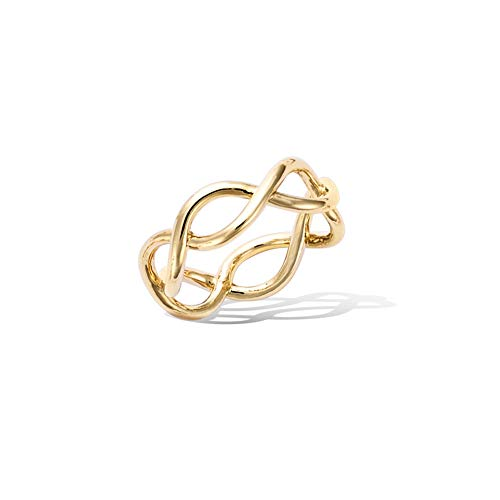 Charm Endless Love (Agvana Yellow Gold Filled Knot Infinity Endless Love Symbol Charm Ring Gift for Women Girls Size 8)