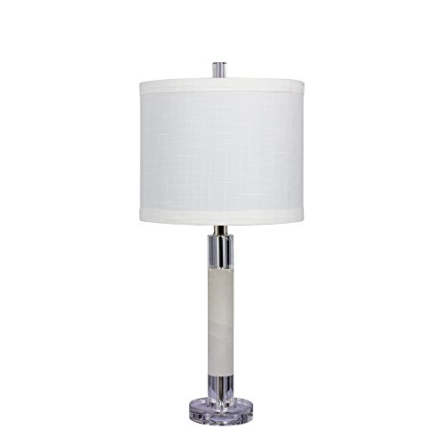 Marble Column Crystal (Cory Martin W-5151 Fangio Lighting's #5151 26 in. Smooth Column Table Lamp in a Clear Crystal and Snow Marble Finish, 26.00, Clear with Snow Marble)