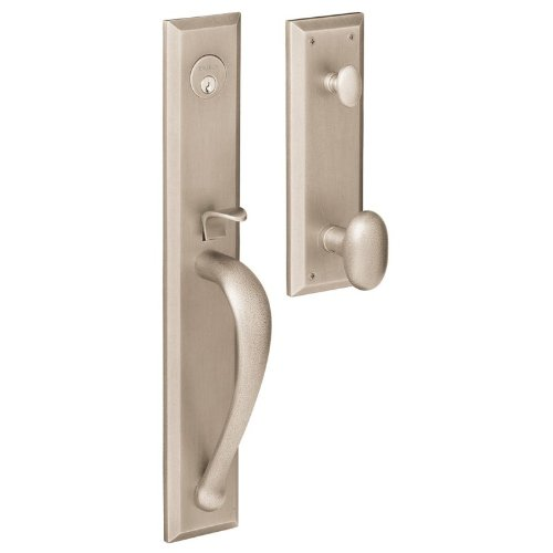 Baldwin 6403150ENTR Satin Nickel Images, Cody Cody Style Full Escutcheon Single Cylinder Handleset with Interior Oval Knob 6403.ENTR ()