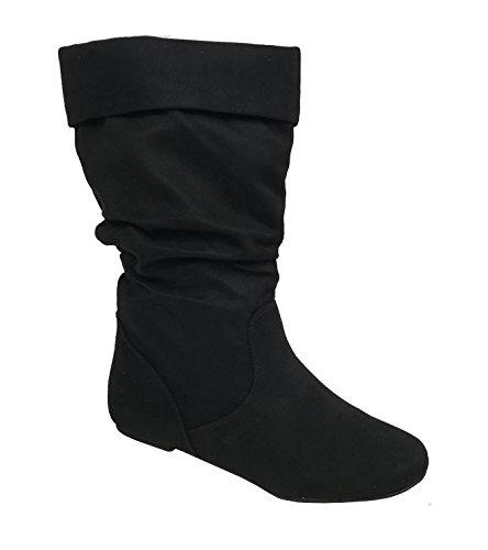 Wells Collection Womens Wonda Stiefel Weiche Slouchy Flat bis Low Heel unter Knee High Schwarzes Wildleder