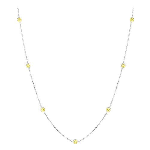 14K Gold Chain Necklace with Yellow Diamonds by the Yard 0.7ctw (White Gold)