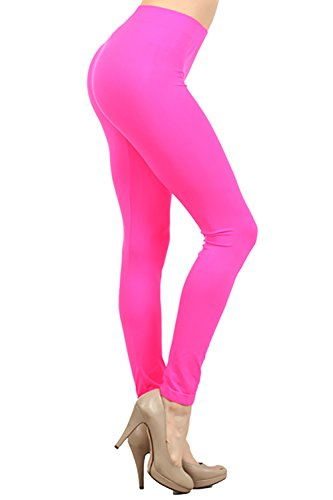 Neon Nation Colored Seamless Leggings Athletic Pants Costume Party Tights Quality (Neon Pink) - 80s Neon Clothes