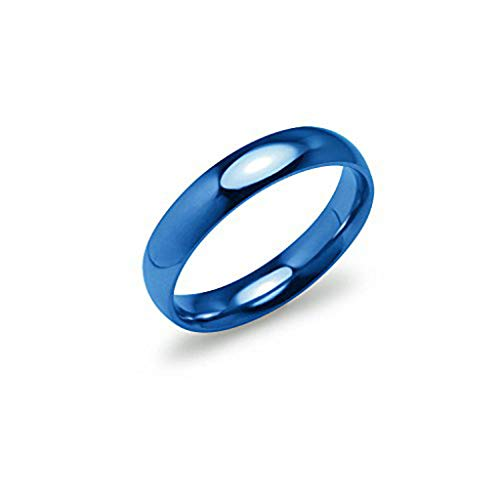 Silverline Jewelry High Polish 4mm Comfort Fit Wedding Band Ring Stainless Steel Blue Tone Size 5