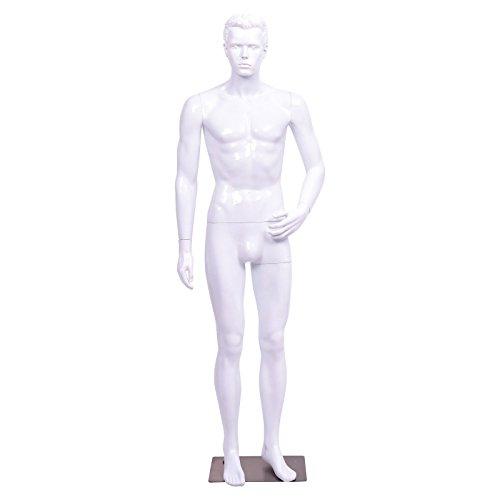 Giantex Male Mannequin Full Body Dress Form Display Plastic High Gloss Black w/Base(White, Style - Mannequin Body Full Male