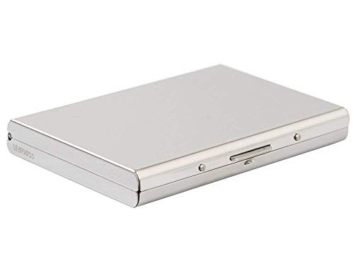 Business Card Holder, High-Grade Metal  Business Card Case for Bank Cards and ID Cards, Prevent Electronic Credit Card Scan Theft, Silver