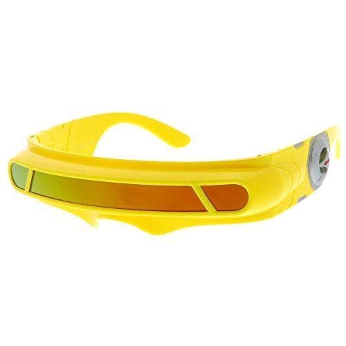 sunglassLA - Futuristic Cyclops Shield Colored Mirror Mono Lens Wrap Sunglasses 147mm (Yellow / Orange - Sunglasses Cyclop