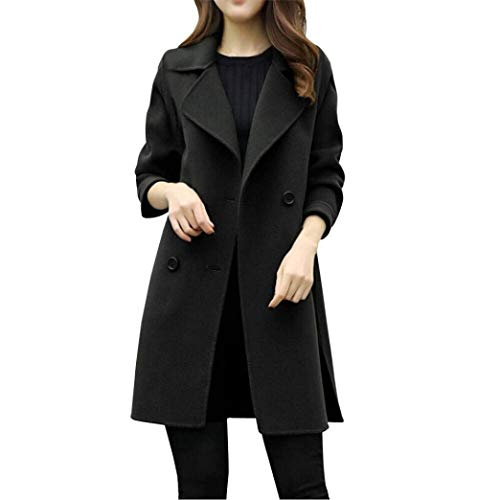 Outerwear Fashion Di Double Primaverile Lana Cappotto Transizione Autunno Schwarz Giorno Donna Lunghe Maniche Bavero Lunghi Giacca Targogo Relaxed Breasted Elegante Casual Giaccone UfgOqf5w