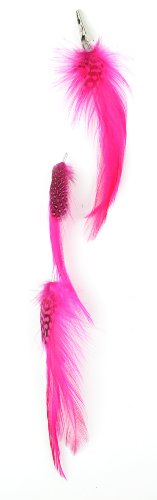 Designer Feathers 12747 Feather Hair Extension, Bleached and Dyed Hackle (Hot Pink)