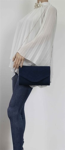 Clutch SWANKYSWANS Wedding Ladies Leather Party Samantha Faux Bag Suede Blue Navy Prom Womens 8wqHfS